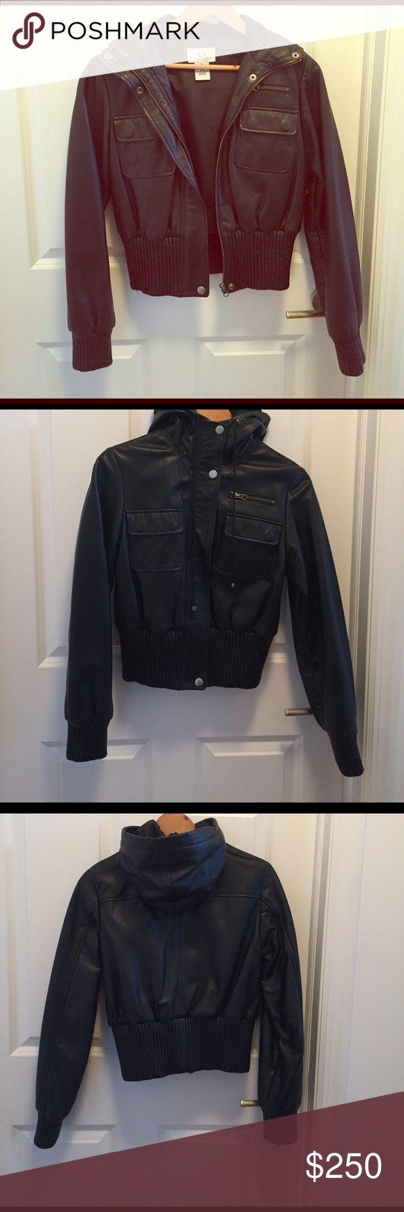 Armani Exchange Leather Coat with hood A|X Armani Exchange Leather jacket with hood size small A/X Armani Exchange Jackets & Coats