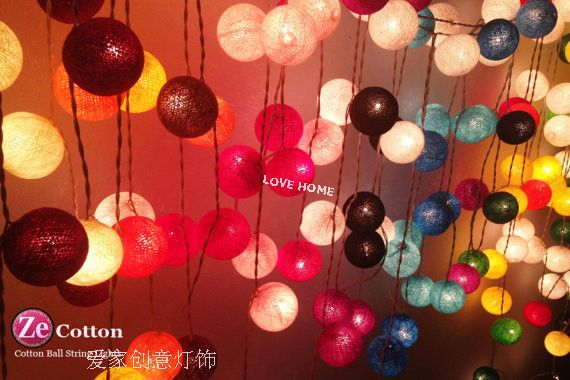 Wholesale 4set,20 Cotton Ball Light Lamp,AC220V, String Strip Lantern Tone,Huamei,purple,Fairy Wedding Xmas Party,FREE SHIPPING(China (Mainland))