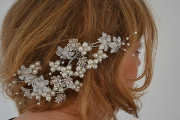 Vintage style bridal head piece for country themed wedding Summer 2012