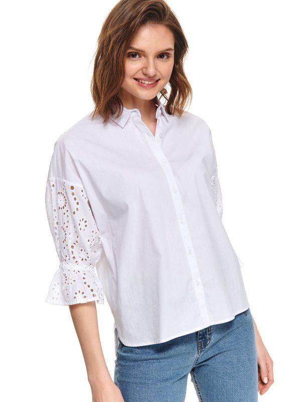Koszula Dlugi Rekaw Biala Skl3088 Koszula Dlugi Rekaw Top Secret Odziezowy Sklep Internetowy Top Secret Open Shoulder Tops Fashion Tops