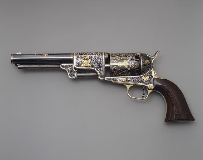 Colt Third Model Dragoon Percussion Revolver, c. 1853. Decorated by Gustave Young