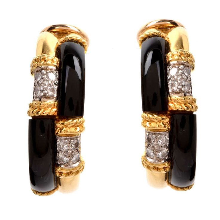 Diamond Black Onyx Gold Hoop Earrings | From a unique collection of vintage hoop earrings at http://www.1stdibs.com/jewelry/earrings/hoop-earrings/