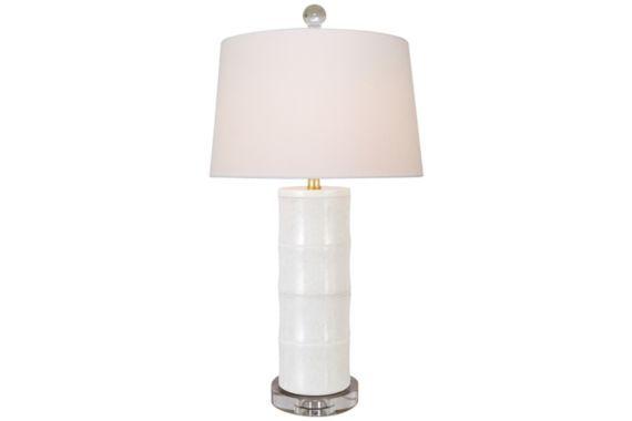 Giant Bamboo White Cylinder Table Lamp - #EU9K627 - Euro Style Lighting