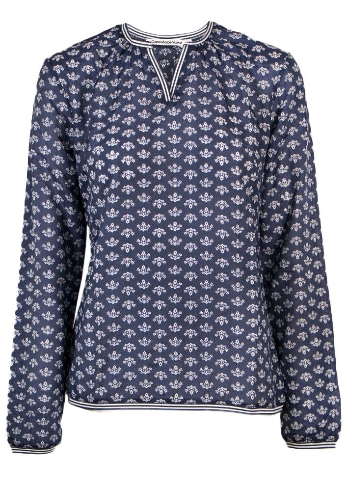 Copenhagen Luxe Skjorte blå print 7332 Silk Shirt Print P79 dark blue – Acorns