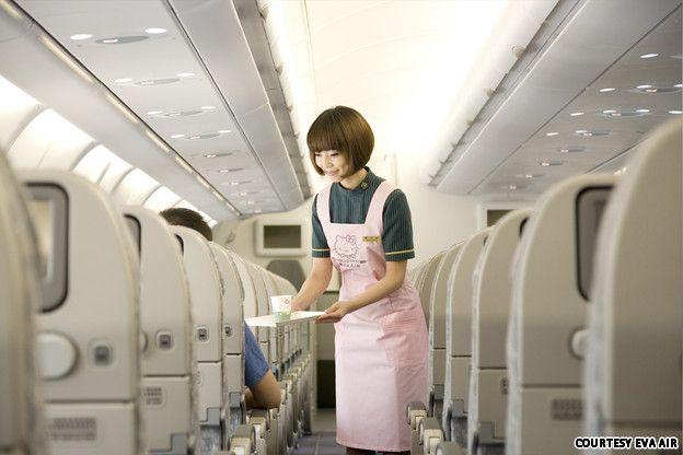 Flight attendant on EVA Airlines - aka Hello Kitty Air! LOL
