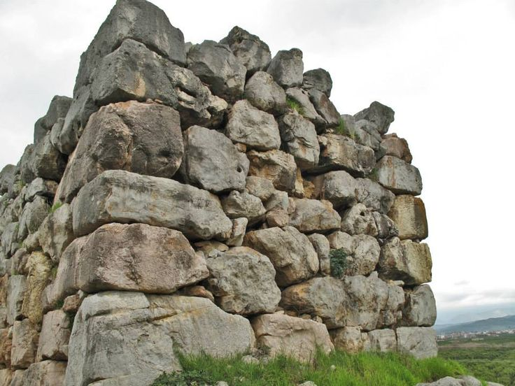 The cyclopean walls (13th c. BC) of Ancient Tiryns Mycenaean Citadel (16th c. BC). The thickness of the wall is very large, usually reaches the 6 meters. Ancient Tiryns was inhabited since the Neolithic Age (7th- 4th Millenium BC) and is a UNESCO World Heritage Site.