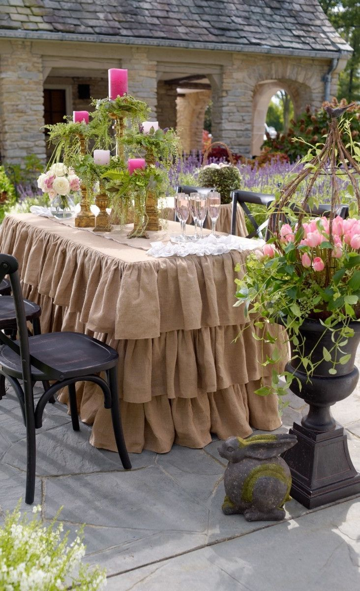 Our Ruffled Burlap Fitted Tablecloths and Runners are tailor made for Easter, but an extraordinary way to give your tables a natural, feminine feel any time of year.