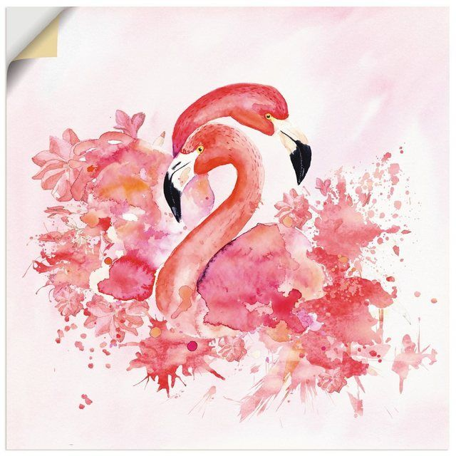 Wandfolie »UtArt: Pink Flamingo in Love- Illustration«