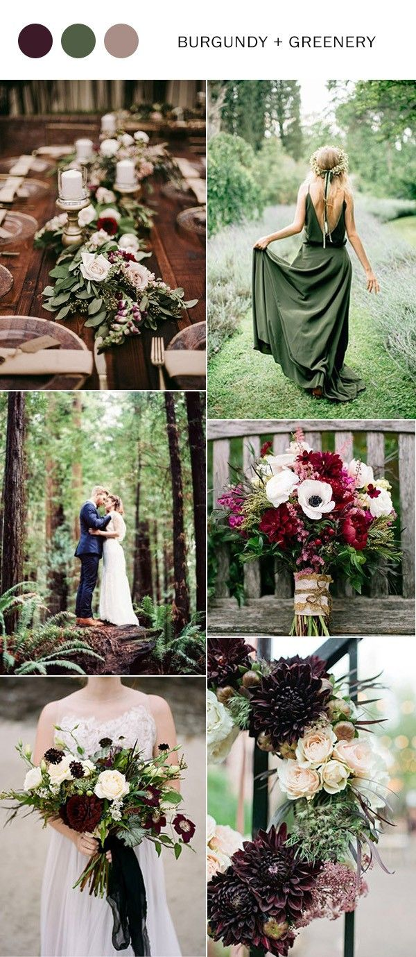 burgundy and greenery fall wedding color ideas 2017