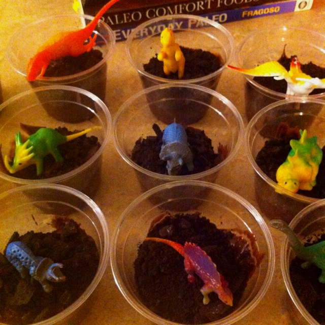 Dino's in Dirt (chocolate pudding & crushed Oreos) for Dinosaur Week