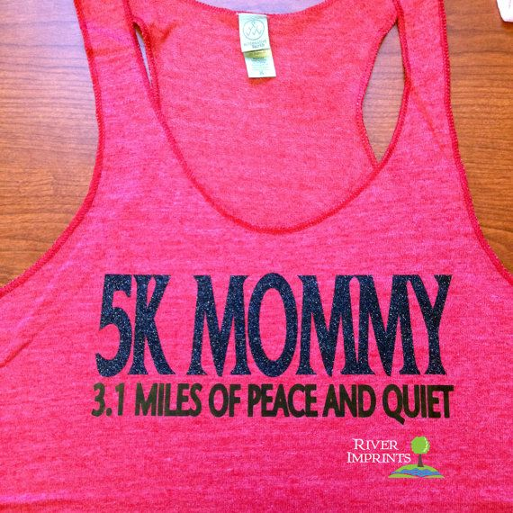 5k MOMMY Fitted Tank, workout jersey racer back running tank on Etsy, $21.00