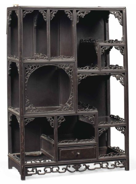 """This would make a great Halloween apothecary shadow box - Chinese hardwood hanging shelves - late 19th - early 20th century - 28½"""" x 19½"""" x 8½"""""""