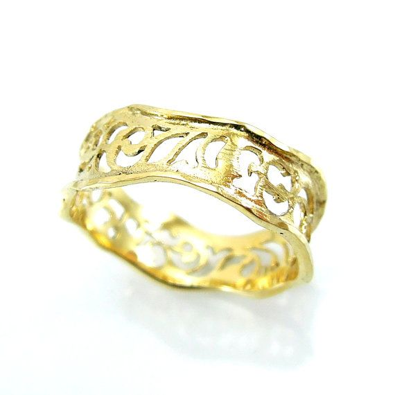 Gouden ring filigraan golvend ontwerp van HadasGold op Etsy