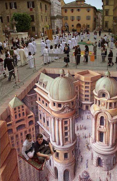 Street art, 3D. Optical illusion
