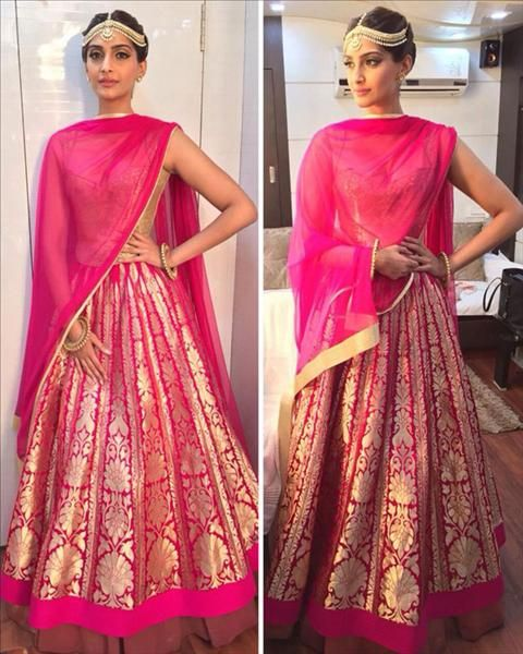 The funky bride! Bollywood's fashionista Sonam Kapoor was all decked up in her 'Dolly Ki Doli' avatar. For the 2015 Screen Awards, the actress picked a pink and gold Rohit Bal lehenga. While the color and the lehenga looked perfect on her, it was the styling that I loved more. Loved the addition of the statement matha-patti and the Amrapali earrings with the simple bangles by Ghana Singh.