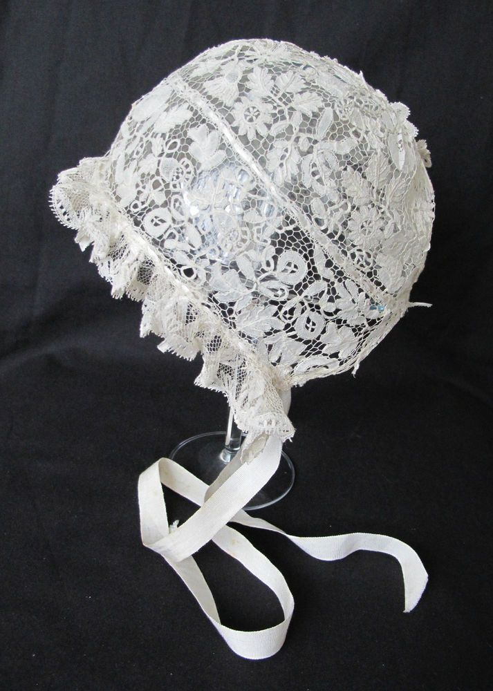 Exquisite Handmade Antique Honiton Bobbin Lace Guipure Christening Baby Bonnet