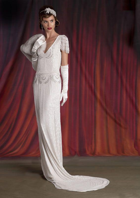 Eliza Jane Howell- Lauren. Art Deco inspired bridal gowns available at The Tailor's Cat, Cambridge 01223 366700