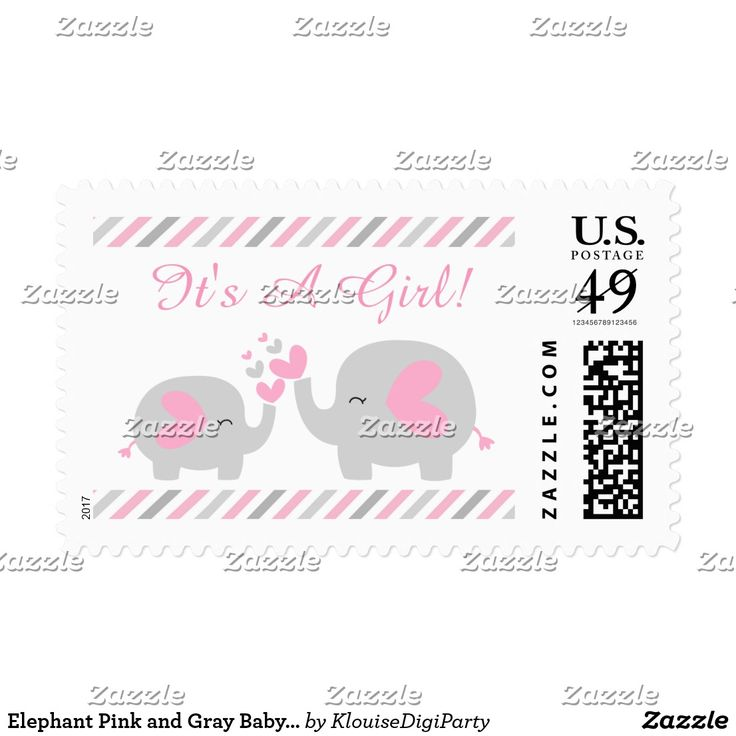 Elephant Pink and Gray Baby Shower It's A Girl Postage