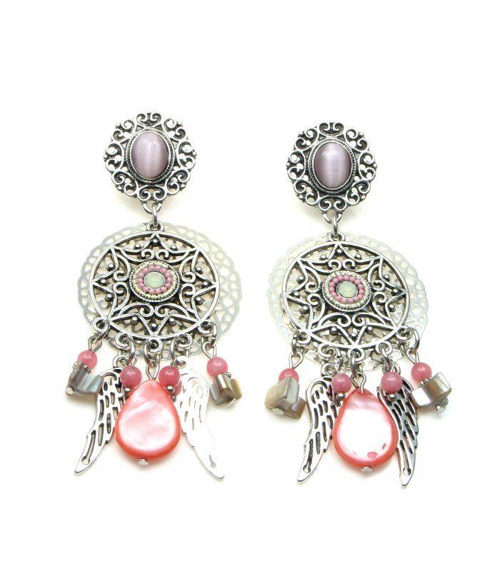 Mooie statement oorclips met roze kralen en bedels | Lengte van de clip oorbel is circa 8,5 cm | Mooie lange clip oorbellen