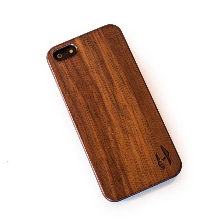 Echt houten hardcase hoesje iPhone 5 / 5S - donker notenhout door HoentjenCreatie op Etsy