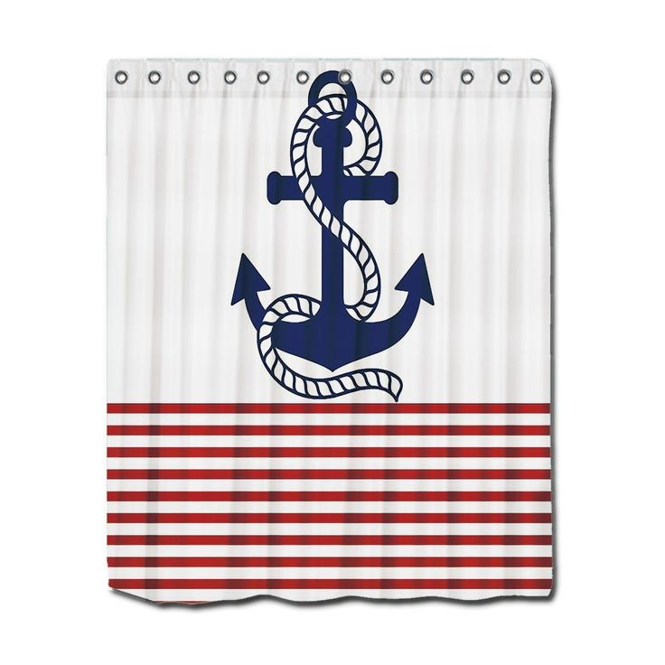 bathroom shower curtains nautical themed red white and blue with anchor visit us