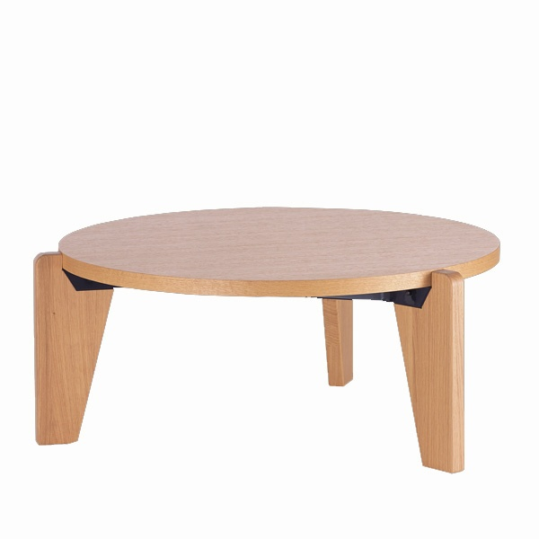 GUERIDON BAS TABLE BY JEAN PROUVE, NATURAL OAK
