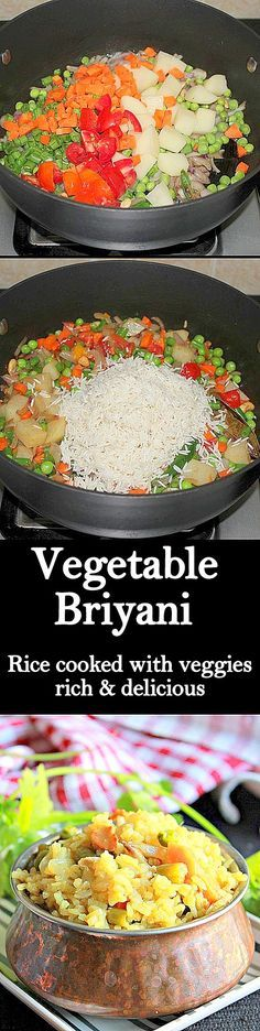 Vegetable Briyani, rich, flavorful and delicious dish with rice, vegetables and spices..