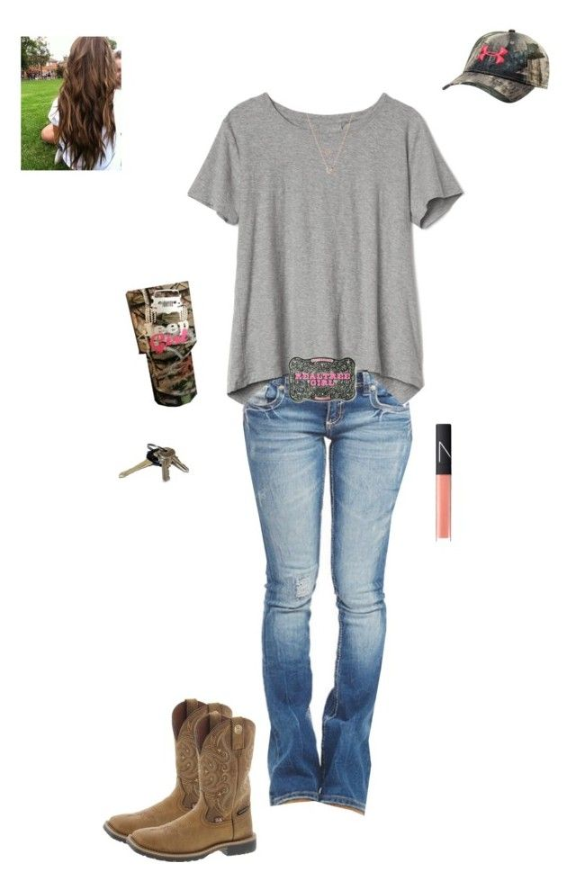 """Family thing this afternoon"" by kansascountrygirl ❤ liked on Polyvore featuring Gap, Wet Seal, Realtree, Justin Boots, NARS Cosmetics, Avon, Under Armour, Michael Kors and Links of London"