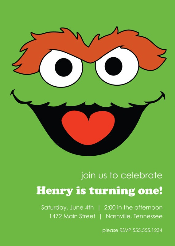 Sesame Street Birthday Invitation Elmo, Cookie Monster, Oscar, or Big Bird - Custom DIY Printable