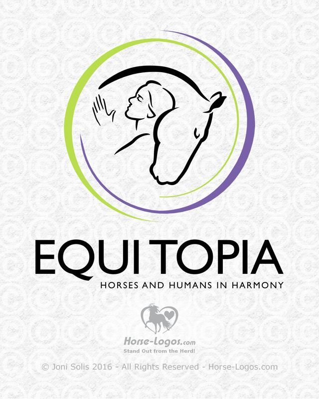 Custom horse logo design created for Caroline Hegarty of Equitopia. Design by Joni Solis of Horse-Logos.com
