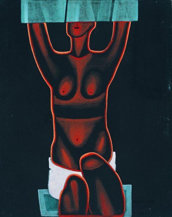 """Jerzy Nowosielski, """"Półakt czarny"""", 1971, olej na płótnie, 99 x 79,5 cm, w zbiorach Muzeum Narodowego we Wrocławiu, fot. pracownia fotograficzna MNW"""