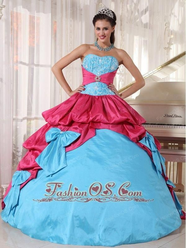 Hot Pink and Aqua Ball Gown Dresses