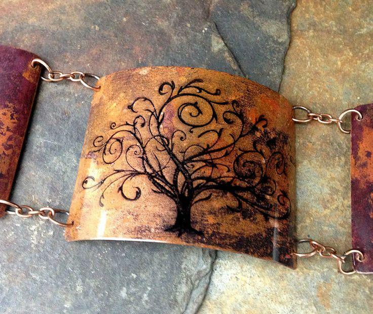 Celtic Druid Tree Of Life Steampunk Copper Bracelet Goth