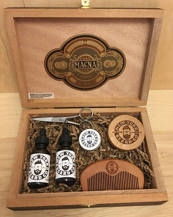Cigar Box Beard Care and Grooming Kit includes: (2) bottles of all natural beard oil - choose from 11 scents each plus Unscented option. Unscented all natural Beard Balm Boar Bristle Beard Brush Beard Comb Beard and Mustache Scissors Repurposed cigar box purchased from my local