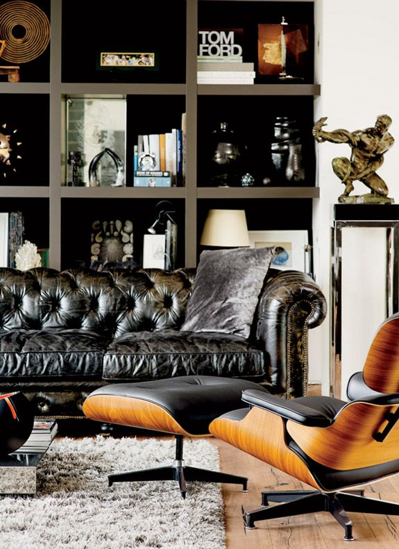Distressed Black Leather Chesterfield Sofa, Eames Rosewood and Black Leather Recliner, Masculine Room. Via alteregodiego.