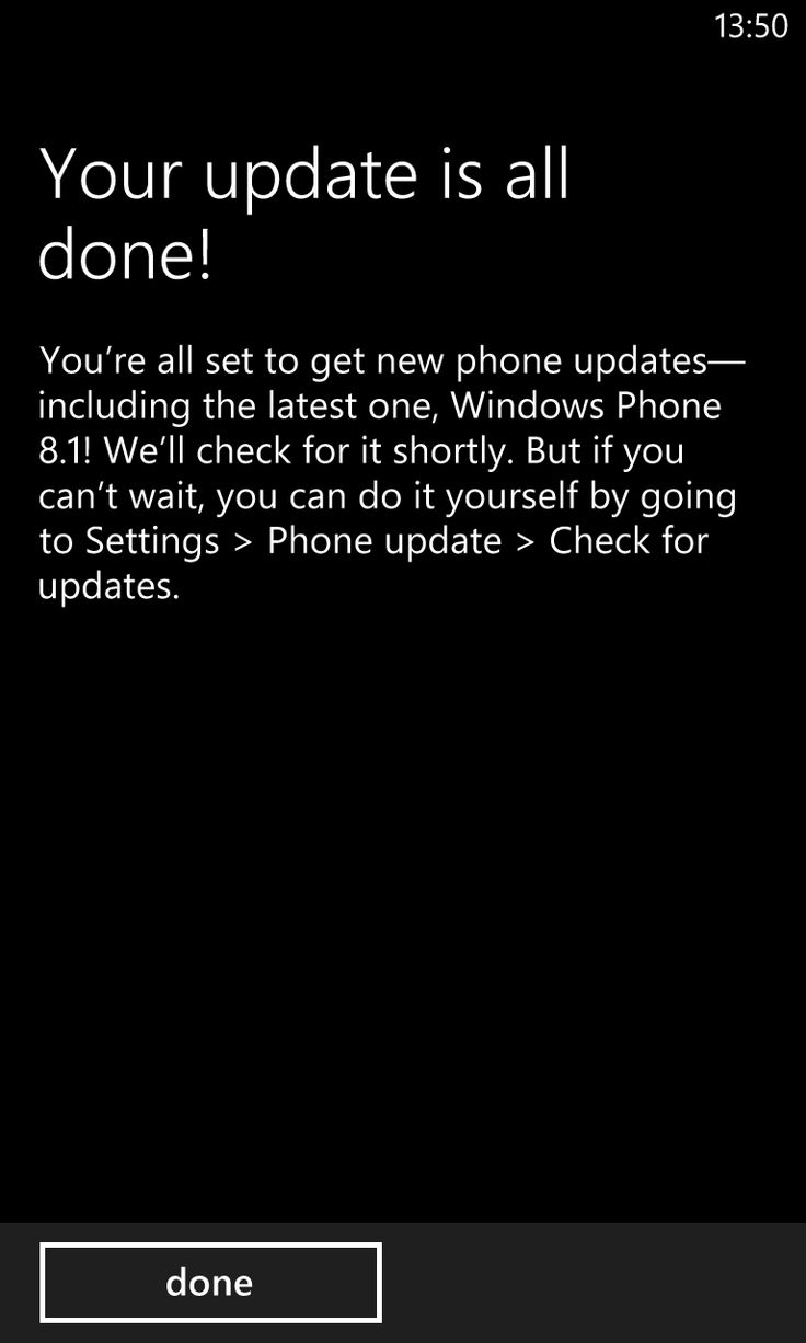 Windows Phone 8.1 update notification