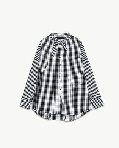 リボンディテール付きチェック柄シャツ-すべてを見る-トップス-レディース | ZARA 日本