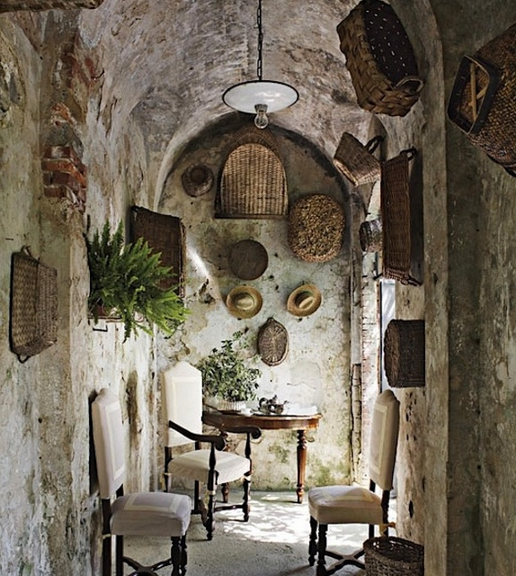 Daryl McMahonDecor, Ideas, Old Baskets, Stones Wall, Interiors, House, Architecture Digest, Stones Home, Tuscan Style