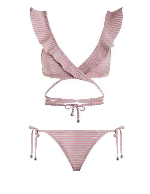 Caravan Stripe Wrap Bikini, from Zimmermann Resort Swim 17 collection, in Pink and Silver stripe. Wrap around bikini with bonded frills.