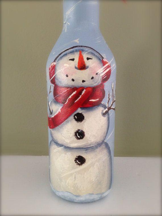 Snowman - Wine Bottle - Hand Painted