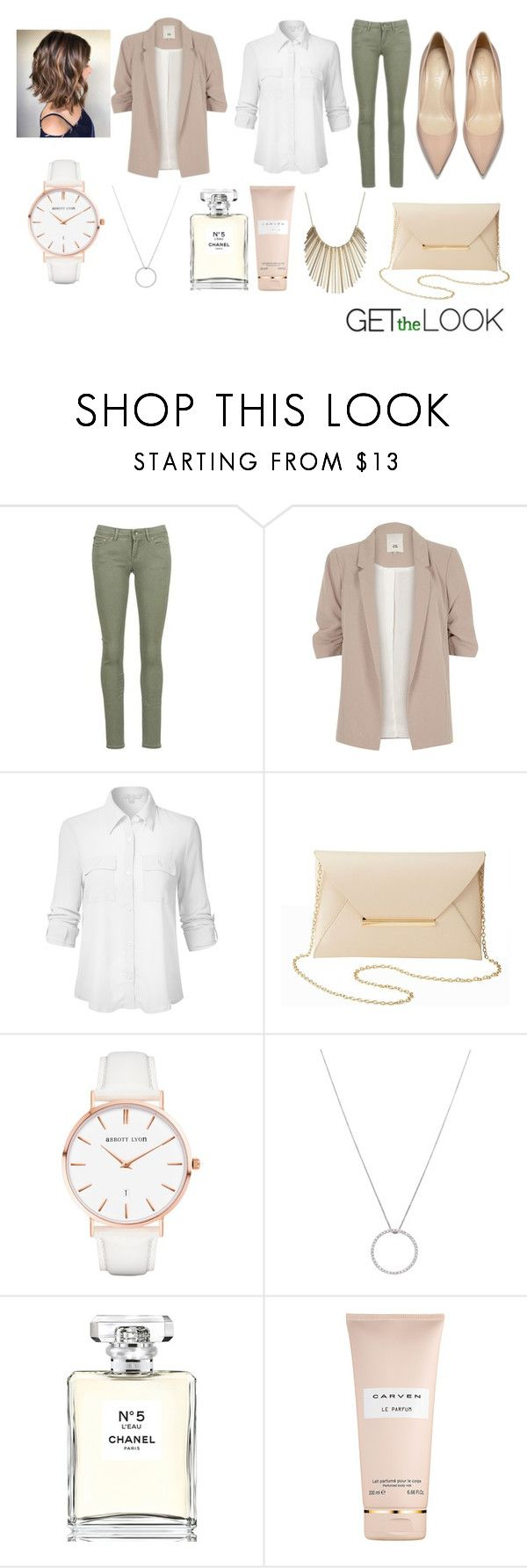 """Untitled #238"" by nikkiemery ❤ liked on Polyvore featuring Roxy, River Island, Charlotte Russe, Abbott Lyon, Roberto Coin, Chanel, Carven and Jennifer Lopez"