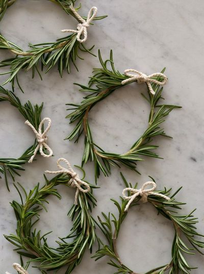 rosemary wreaths - napkin rings for Christmas table setting