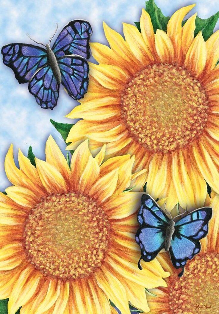 Sunflower Trio Summer Garden Flag Butterflies Floral X