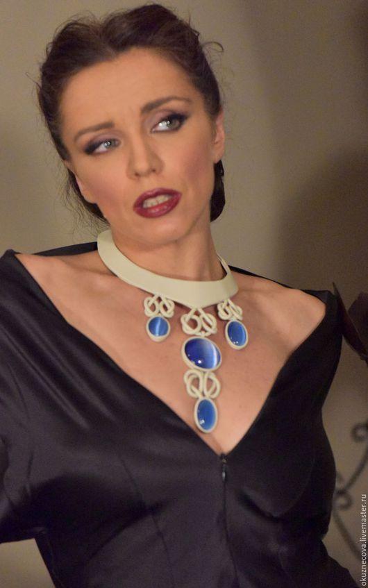 ожерелье, ожерелье из кожи, кожаное ожерелье, ожерелье с кошачьим глазом, ожерелье не дорого, Купить ожерелье.