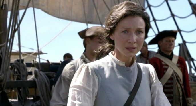 Claire on board the British Navel ship, the Porpoise - Outlander_Starz Season 3 Voyager - Episode 309 The Doldrums - November 12th, 2017