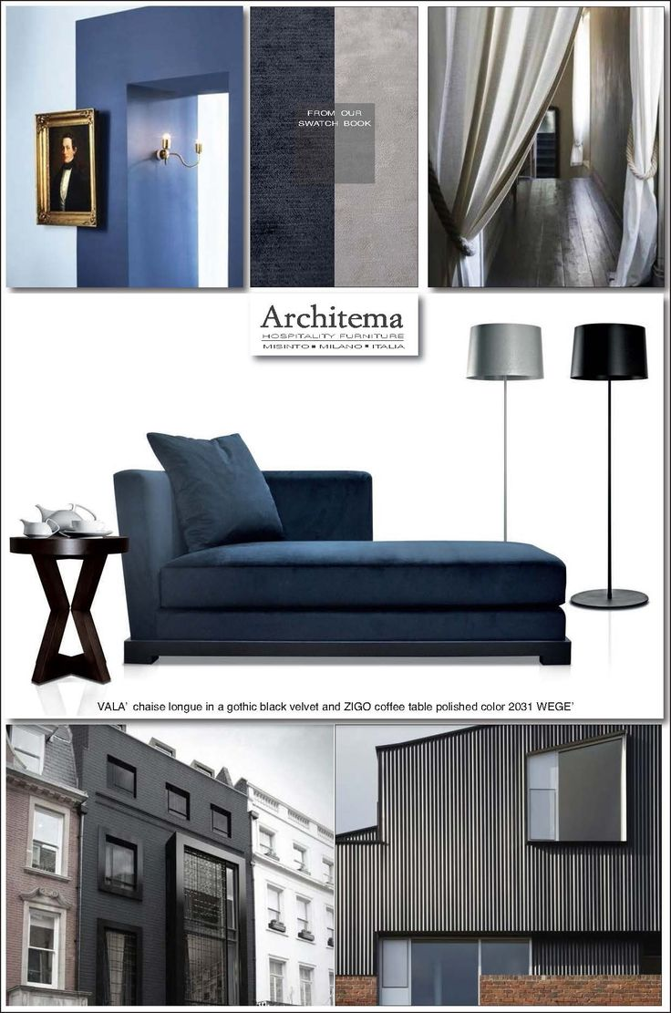 ARCHITEMA HOSPITALITY FURNITURE _ VALA'  chaise longue in a gothic black velvet and ZIGO coffee table polished color 2031 WEGE'