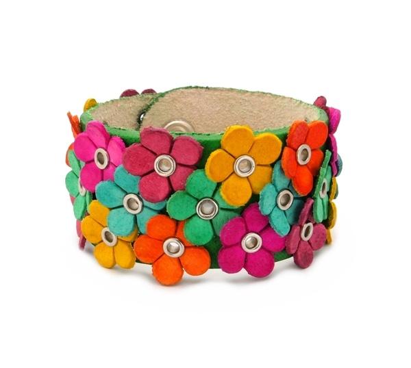Leren bloemen armband groen