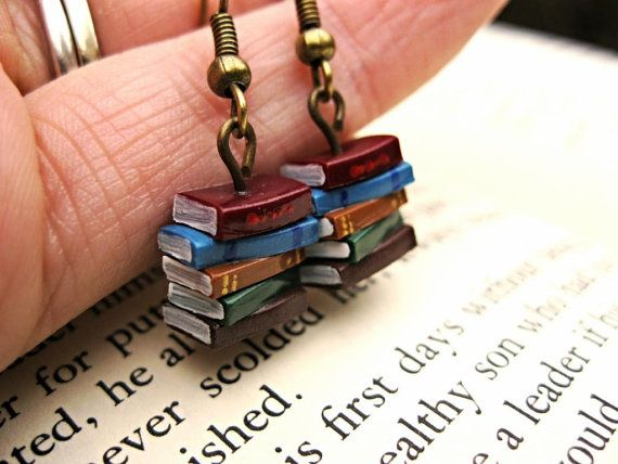 Stack of Book Earrings by Coryographies. These weigh less than 5g and are just over 1cm tall.
