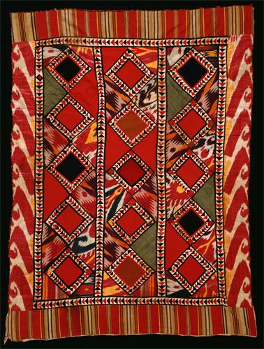 Korak (Curtain). 1945-1975. Uzbekistan. Cotton, silk, and wool. This patchwork curtain known as a korak was traditionally used inside a yurt, a circular felt domed tent by the nomadic people throughout Turkestan...
