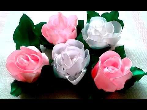 Украшение на зажим Канзаши, Мастер-класс / Flower kanzashi, Tutorial - YouTube